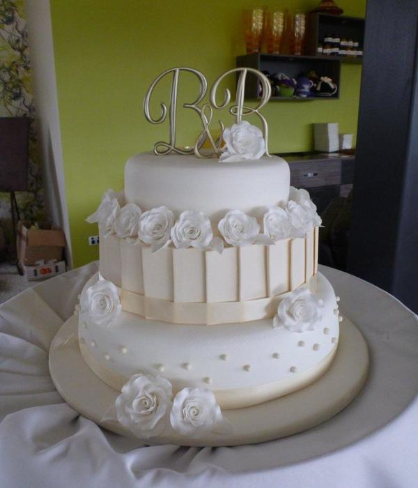 My First Wedding Cake - White & Ivory 3 Tier Wedding...