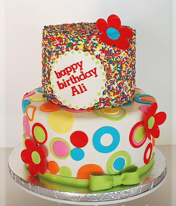 Sprinkles And Circles Birthday Cake