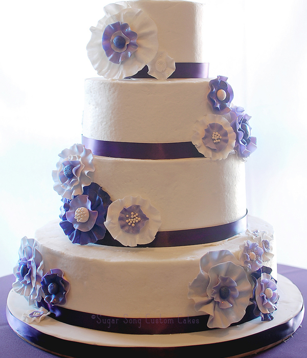 Fabric Flower Wedding Cake