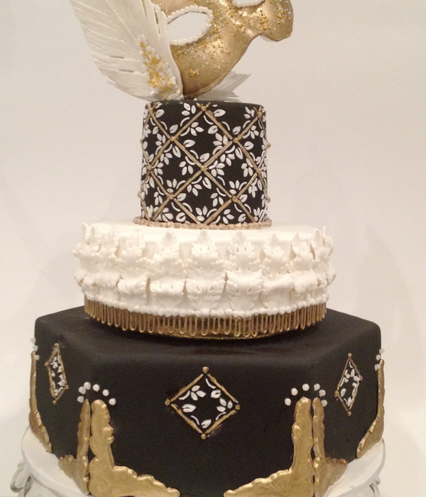 Black And Gold Masquerade Birthday Cake
