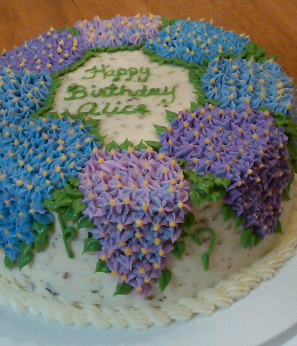 Hydrangea Italian Cream Birthday Cake