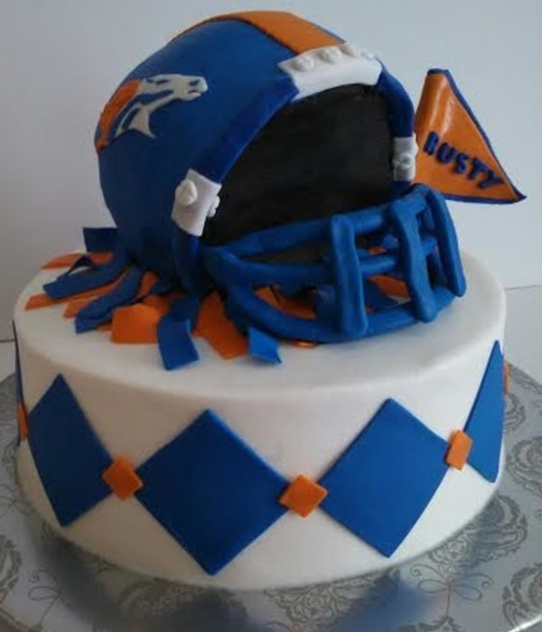 Denver Broncos Helmet Football Cake With Diamond Design On Base Cake, All Buttercream With Fondant Deco.