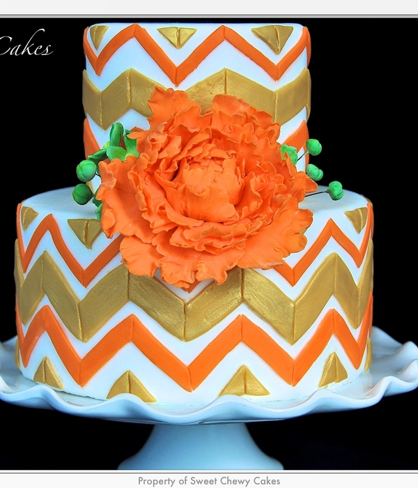 Gold And Orange Chevron Cake