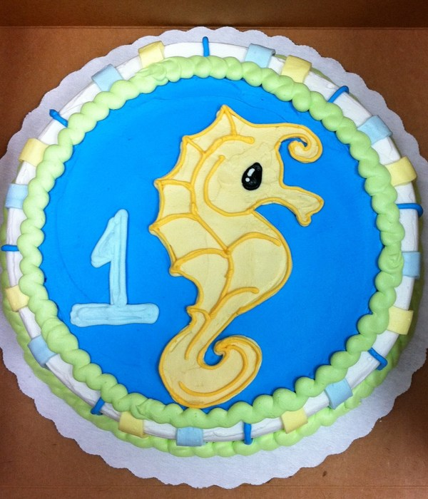 Seahorse First Birthday Cake