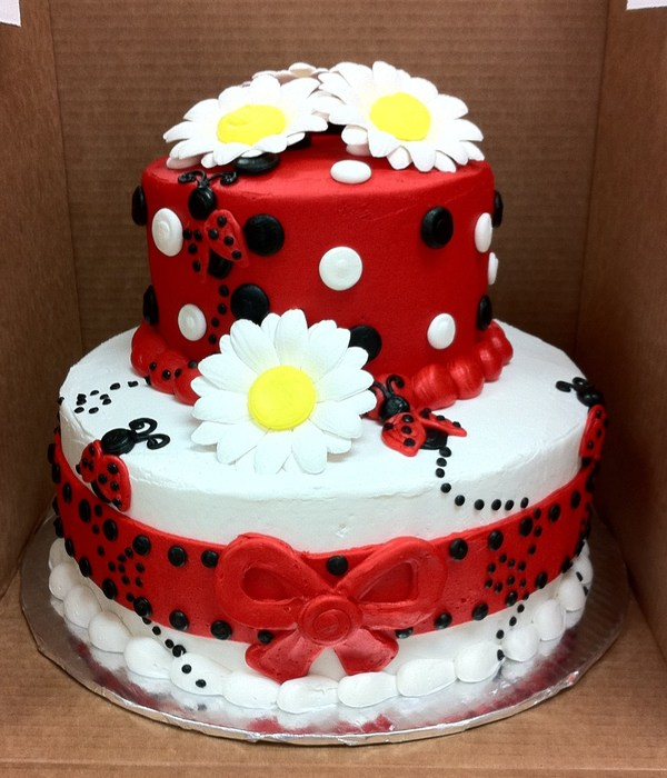 Lady Bug Themed 2 Tier Cake