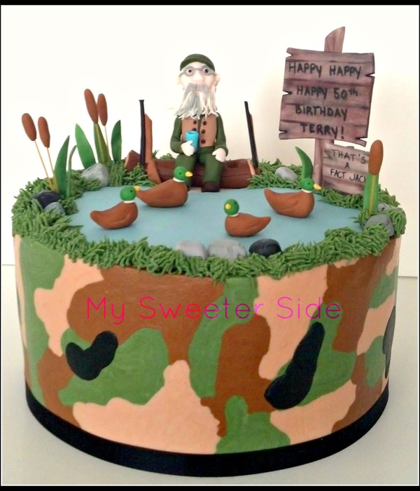 Duck Dynasty Themed Birthday Cake Camo Buttercream With Fondant Decorations