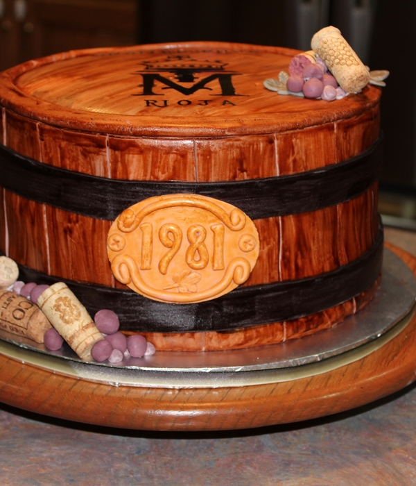 Wine Barrel Anniversary Cake