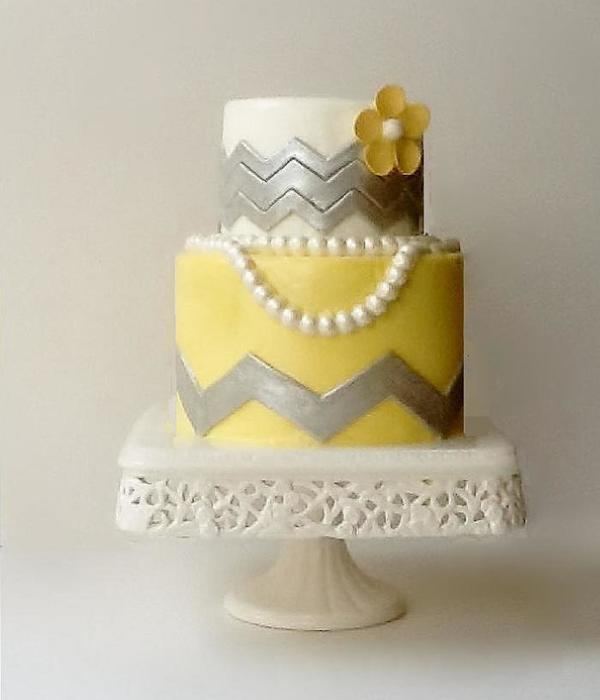 Chevron And Pearl Bridal Shower Cake