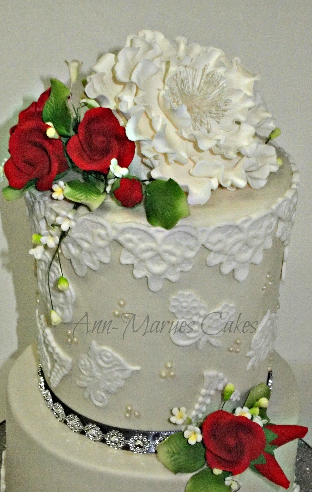 Flowers Lace And Pearls Chocolate Fudge Cake Vanilla Swiss...