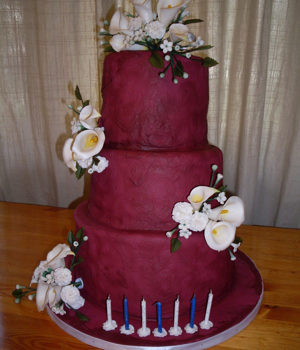 Burgundy Birthday Cake With Sugar Flowers