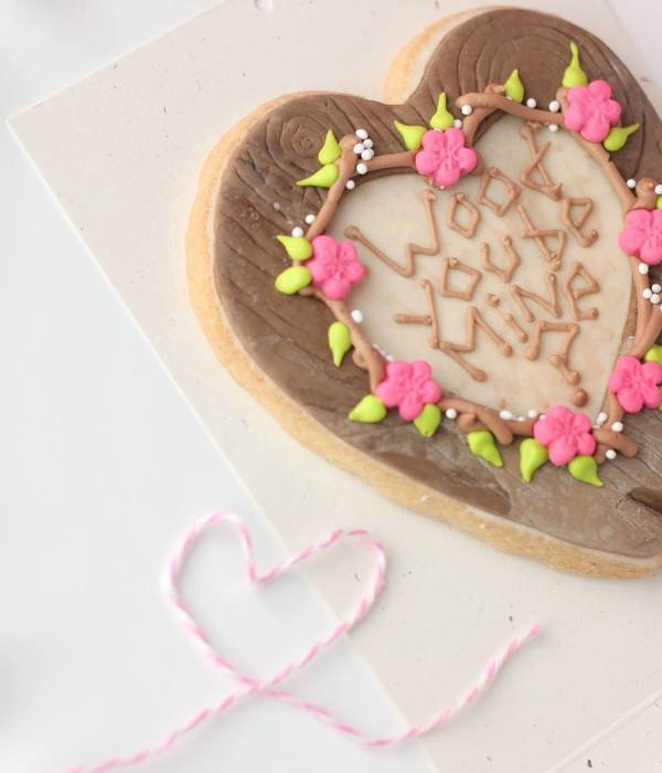 Wood You Be Mine Fondant Decorated Cookie With Royal Icing...