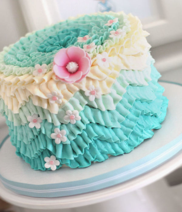 I Managed To Get 3 Trends Onto This Cake The Chevron Pattern Done In Ombre Easily Done With Buttercream Ruffles I Posted How In The Tutoria...