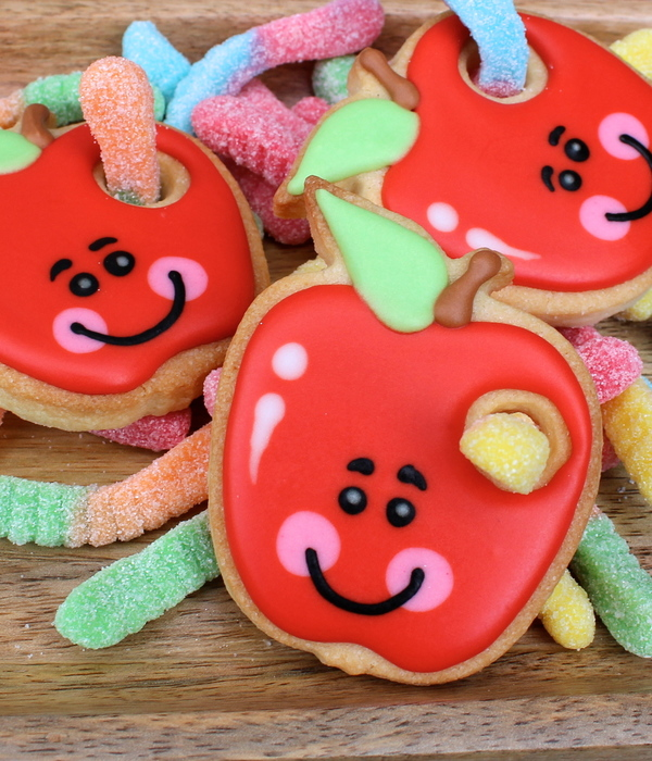 Worm In The Apple A Cute Decorated Cookie Featuring A Gummy...