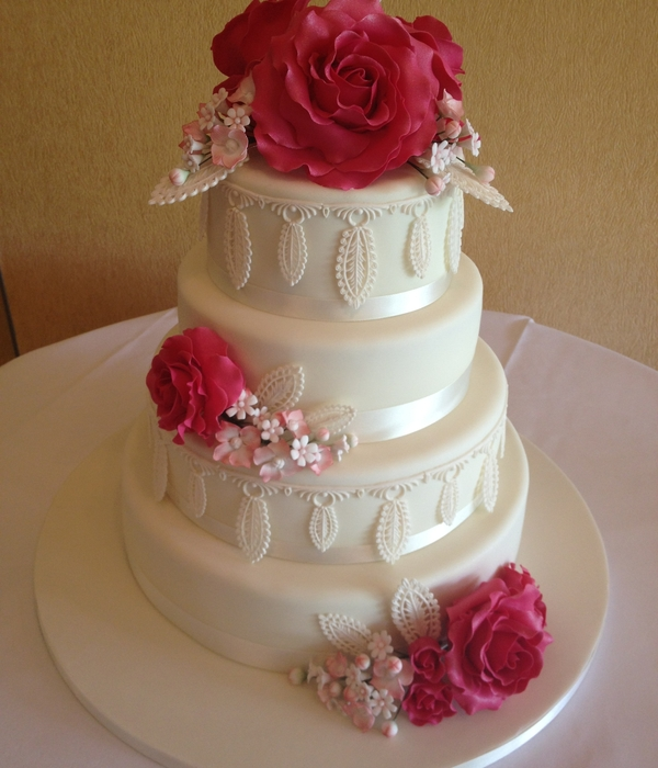 Filigree Rose Wedding Cake