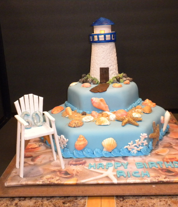 Lighthouse Beach Birthday Cake