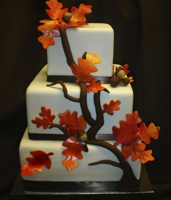 Fall Elegance! Square Wedding Cake