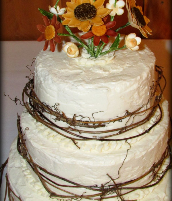 Rustic Wedding Cake With Sugar Flowers Amp Twigs By...