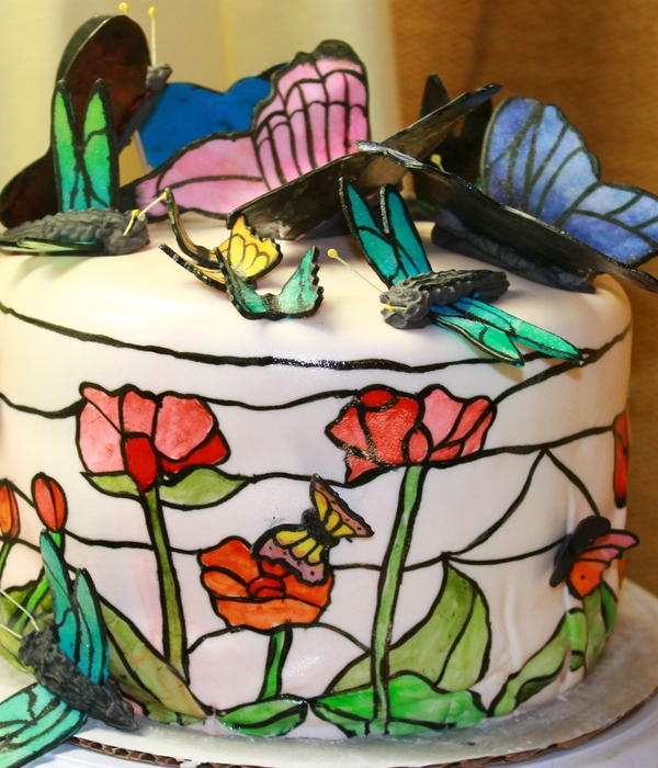 Butterflies, Dragonflies, Poppy Stained Glass