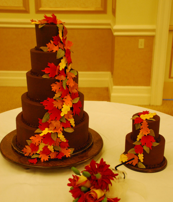 Ganache 5 Tier Fall Leaves Wedding Cake