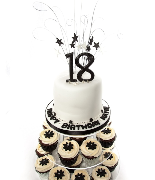 Excellent Black And White 18Th Birthday Cake Cupcake Tower Cakecentral Com Funny Birthday Cards Online Elaedamsfinfo