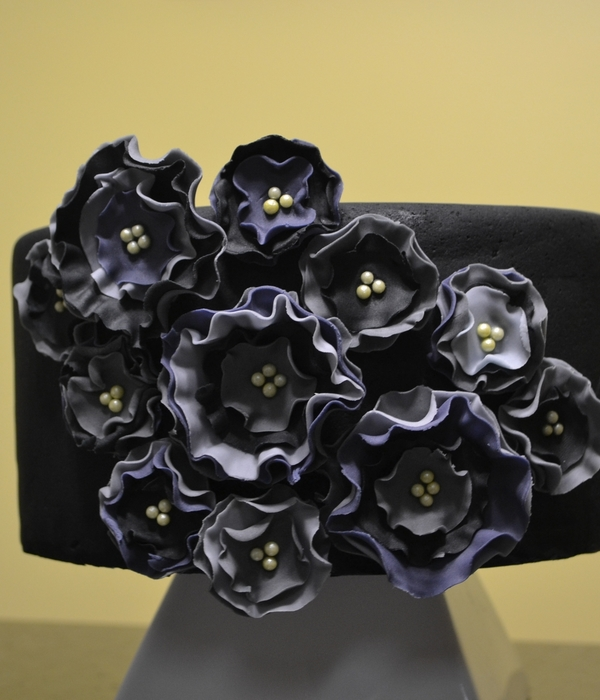 Grey And Black Fabric Flowers