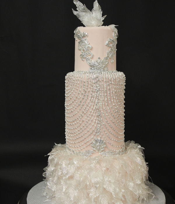 Art Deco Wedding Cake Designed From A Wedding Dress. Pulled Sugar Feathers.