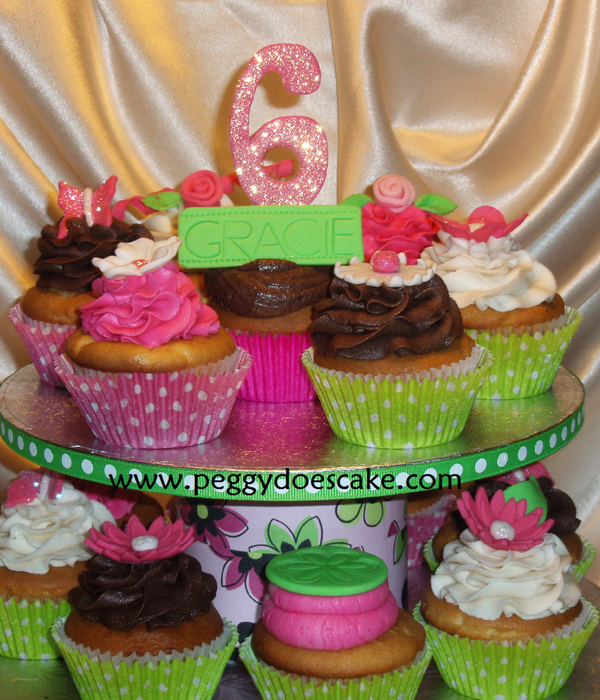 Pink And Green Cupcake Tower