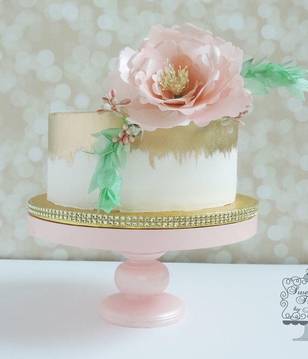 Cake Was Painted With Gold Luster Dust Paper Wafer Flowers...