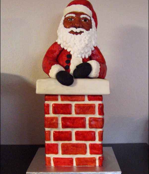 Santa In The Chimney Cake Chimney Is Strawberry Cake With Vanilla Swiss Meringue Buttercream Santa Is Rice Cereal Treats All Covered In M