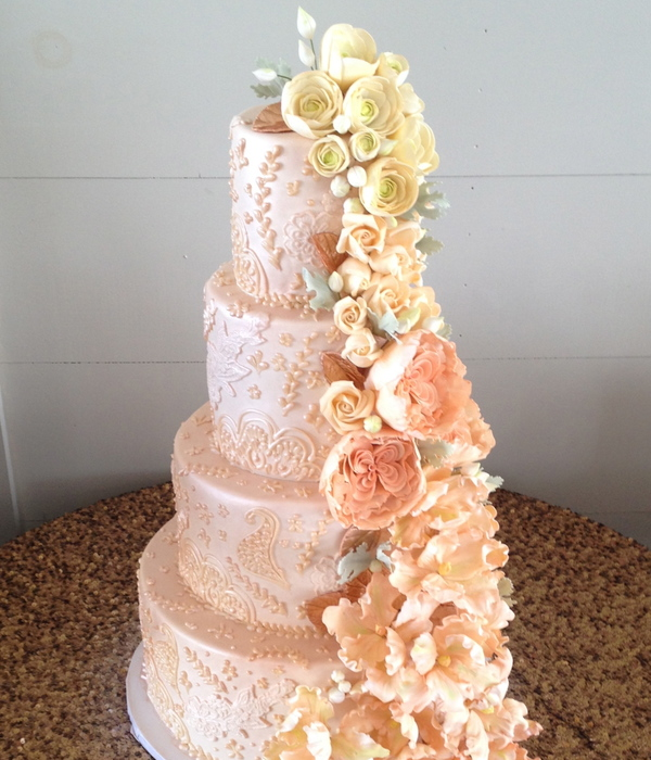 Pink And Cream Sugar Flower Cascade