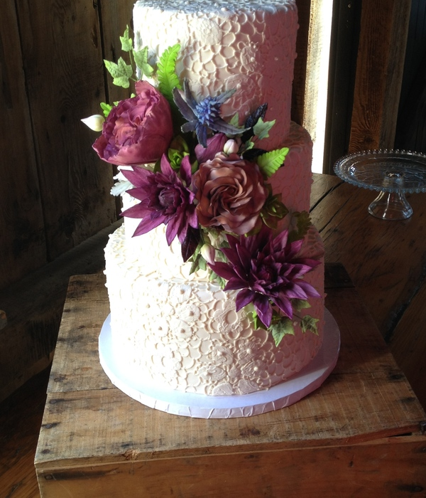 The Sugar Flowers For This Cake Were Lots Of Fun To Make They Included Dahlias Roses Blue Thistle Succulents And Lots Of Different Leav