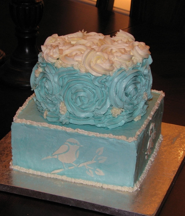 Buttercream Rose And Stencil Cake
