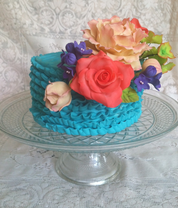 Mothers Day Cake Adorned With Various Sugar Flowers