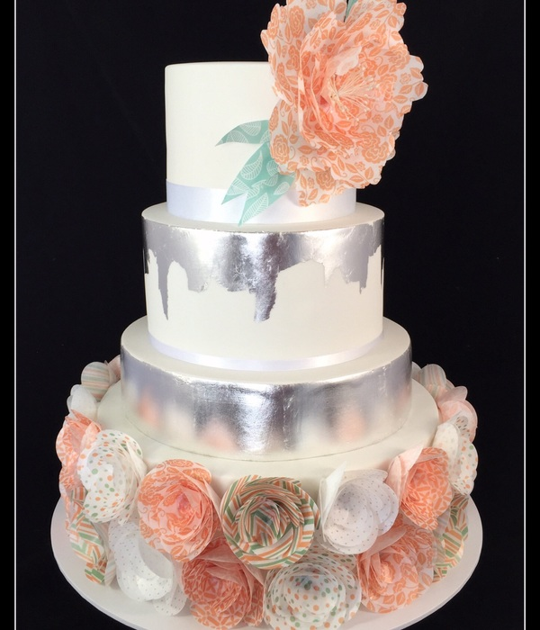 Coral And Mint Wafer Paper Wedding Cake With Silver Leaf