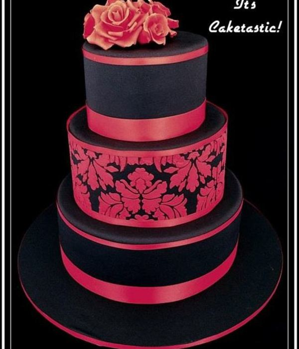 I Love That The Bride And Groom Were Willing To Take A Chance And Use Colour For Their Wedding Cake It Was Three Tiers Of Dark Chocolate M...