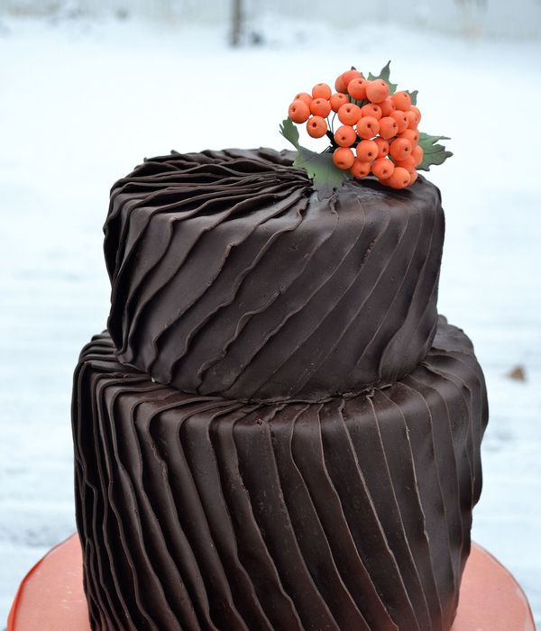 Chocolate Ruffled Pleats