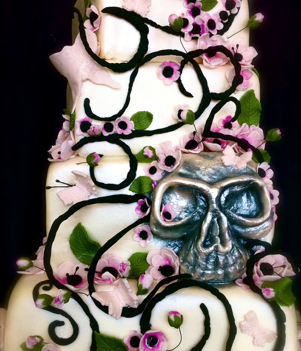 Cherry Blossoms, Butterflies, And Skull Wedding Cake