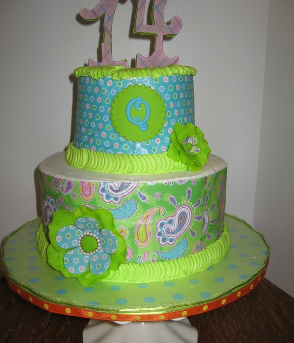 Blue, Green And Orange Cake For My Granddaughter