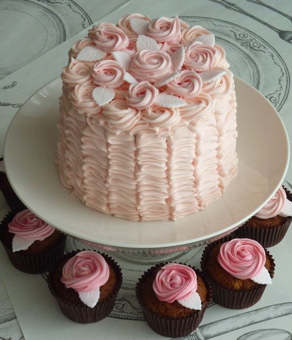 Buttercream Ruffles And Roses Cake
