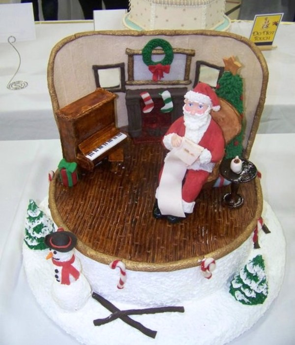Furniture And Wall Made Of Pastillage Santa And The Trees Made Of Modeling Chocolate