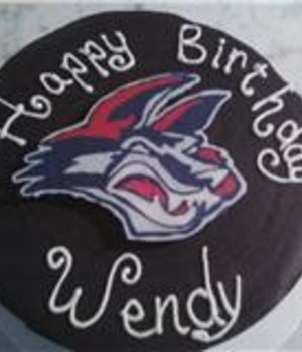 Hockey Puck Cake With Jackal Mascot