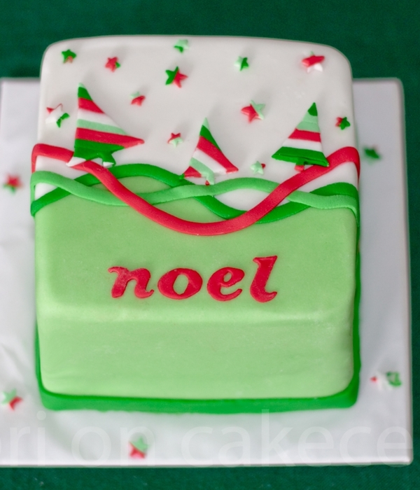Striped Christmas Tree Cake