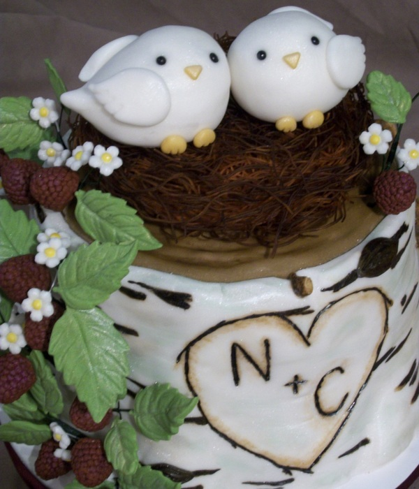 Love Bird Birch Tree Bridal Shower Cake