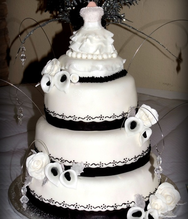 "Black And White Themed Cake For A ""white Dress Gala&..."