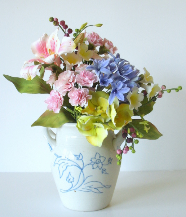 Bouquet Of Sugar Flowers Agapanthus Hydrangea Carnations...
