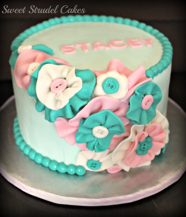 Fabric Flower Birthday Cake