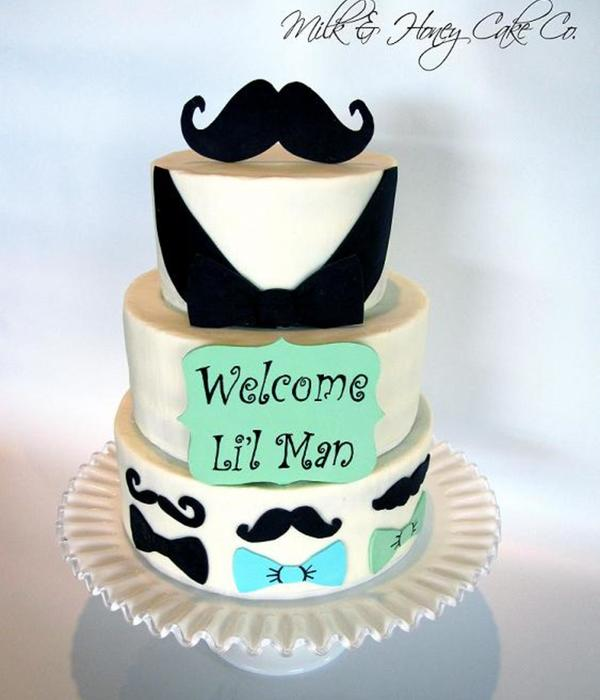 Mustache Baby Shower Cake Buttercream With Modeling Chocolate Decor Handpainted Sign Tfl