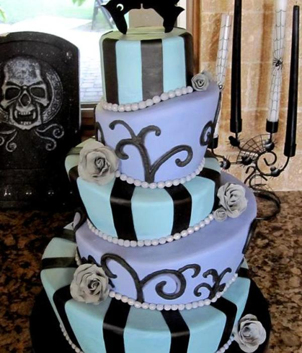 Halloween Wedding Cake Topsy Turvy Mad Hatter Tiers Bride...