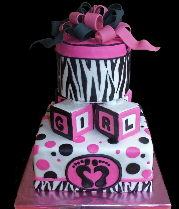 Zebra Striped Hot Pink Baby Shower