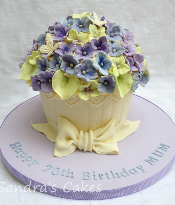 Giant Cupcake Decorated To Look Like A Hydrangea Plant With Fondant Bow For A Friends Mums 70Th Birthday X